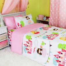 pink blue and green princess castle pattern cute girls style cartoon with girl bedding plans 9