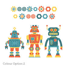 robot wall stickers for boys 3 retro robots pack 2