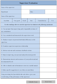 Supervisor Evaluation Supervisor Evaluation Form Editable Forms 1