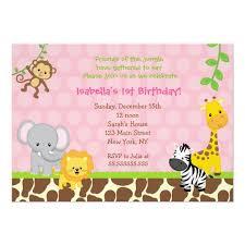 Safari Party Invitations Zoo Jungle Safari Birthday Party Invitations Girl Zazzle Com