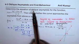 find equation of obliques asymptote and yse end behaviour of curve