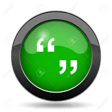 Quotation Marks Icon, Green Website Button On White Background ...