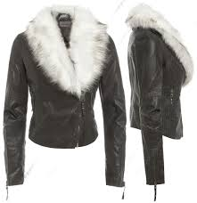 details about new faux fur biker jacket womens fitted faux leather las size 8 10 12 14 16