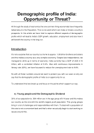 demographic profile of opportunity or threat  1 demographic profile of opportunity or threat all through the study of economics