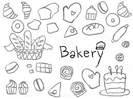 Cute Simple Childish Hand Drawn Bakery Line Art Element For