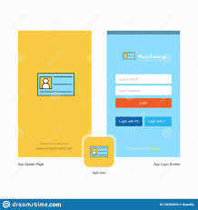Company Id Card Splash Screen And Login Page Design With