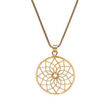 brass lotus flower pendant necklace
