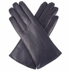 dents las fur lined leather gloves navy