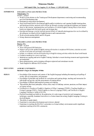 Resume In English Examples English Language Instructor Resume Samples Velvet Jobs 36
