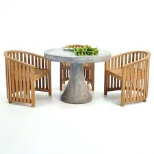 concrete round table and benches outdoor an adorable outdoor dining set with teak tub chairs and