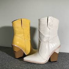 white beige black yellow faux leather cowboy ankle boots for women wedge high heel boots snake