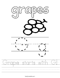 Grape starts with G Worksheet - Twisty Noodle
