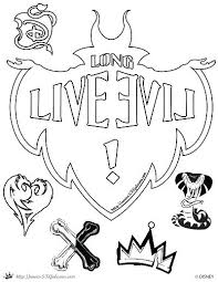 Descendants Coloring Page Long Live Evil Disney 2 Pages Yoloerco