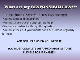 the extended essay workshop ppt  what are my responsibilities
