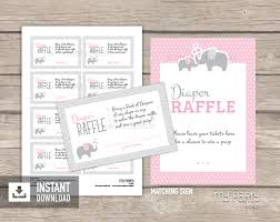 raffle sign elephant girl baby shower printable diaper raffle tickets and sign