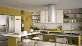 Bright Interior Of Kitchen With Kitchen Island Close Up Stock Photo