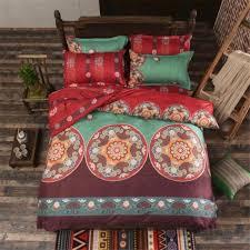whole bohemian mandala bedding set reversible duvet cover bedsheet pillowcase kaleidoscope flowers red twin full queen king size king bedspread sets