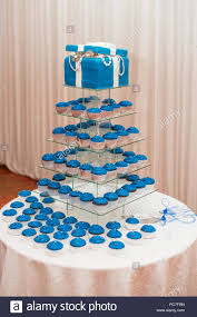 Blue And White Wedding Cake And Cup Cakes Stock Photo 214066377 Alamy