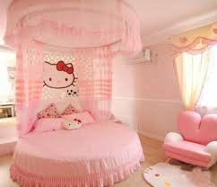 All Pink Colors Pink Round Bed And Canopy Bed For Cute Kids Bedroom Decor  Idea With