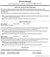 Pin By Free Resume Templates Free Sample Resume Tempalates Image On Simple Special Education Teacher Resume