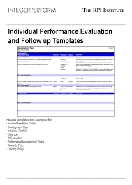 Individual Performance Evaluation And Follow Up Templates
