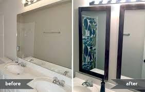 bathroom mirror frame tile. Framing Bathroom Mirror Mirrors Gray House Studio Diy With Tile Frame