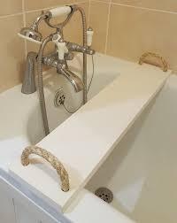 solid pine wood handmade bathtub caddy tray rack bath bridge wooden with rope handles clawfoot tub wine glass shampoo tablet phone book holder