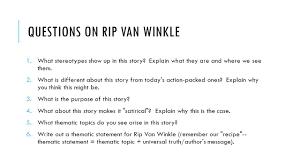 rip van winkle enchanted sleep ppt questions on rip van winkle