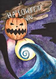 The Nightmare Before Christmas Halloween Town Painting by Wesley Hicks