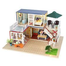 3d diy miniature dollhouse handmade wooden dollhouse assembly model hut lifelike furniture kit led lights for best kids gift dolls for dolls houses