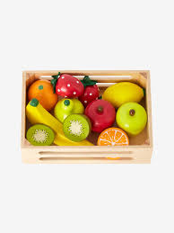 wooden fruit box beige medium solid with decor
