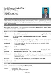 Engineering Student Resume Format Freshers Template