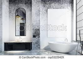 modern loft bathroom with empty poster csp53229429