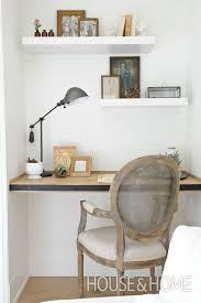Floating shelf desk Storage Small Home Office Nook With Floating Shelves And Desk Covered With Blackened Steel Digsdigs 27 Awesome Floating Desks For Your Home Office Digsdigs