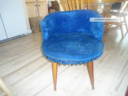 retro vanity stool chair blue with tassles and wooden legs