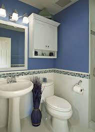 Bathroom, Mosaic Backsplash Tile Idea Feat Stylish Blue Bathroom And  Pedestal Sink With Smart Wall