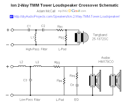 ion diy way tmm tower loudspeaker project crossover schematic ion 2 way tmm tower loudspeaker