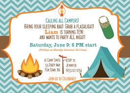 part invites stylish camping out birthday party invitation with blue zigzag
