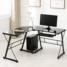 home office computer desk furniture furniture. Mecor L Shape Corner Computer Desk-Tempered Glass Laptop PC Table  Workstation Home Office Furniture Home Office Computer Desk Furniture