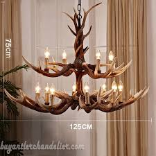 deluex 15 cast elk antler chandelier 2 tiers candle style cascade pendant lights rustic home