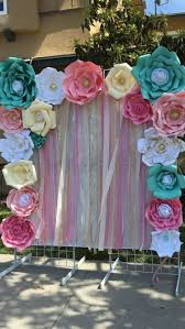 Paper Flower Photo Booth Backdrop First Birthday Party Magical Unicorn Candy Dessert Cake And