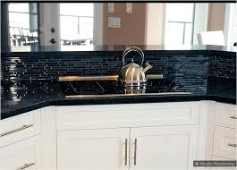 Black Granite Countertops With Tile Backsplash Stunning Black Backsplash Tile Cabinet Black Blue Glass Galaxy Tile Kitchen