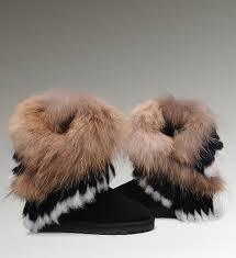 ... UGG Fox Fur Short Boots 8288 Black Classical ...