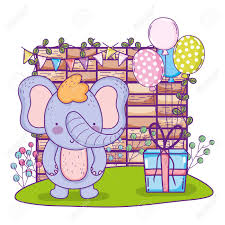Elephant Design Gifts Elephant With Gifts And Balloons Helium In The Field Vector Illustration