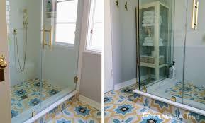 estrella cement tiles on bathroom floor
