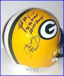 Brett Favre Bart Starr Aaron Rodgers Signed GB Packers FullSize Helmet  FANATICS   Signed Sports Memorabilia