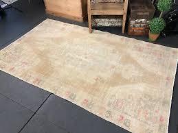 turkish oushak rug 4 x 8 pale blush beige blue handmade 70 s shabby chic