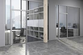 Modern Offices Design Interesting Modern Office Lobby With Gray And Wood Walls A Concrete Floor