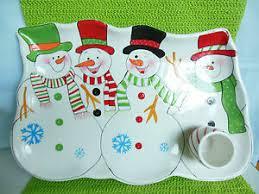 Details About Snowmen Platter Appetizer J A Designs For La Dolce Vita White W Colorful Snowmen