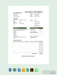 Free Billing Statement Template Pdf Word Excel